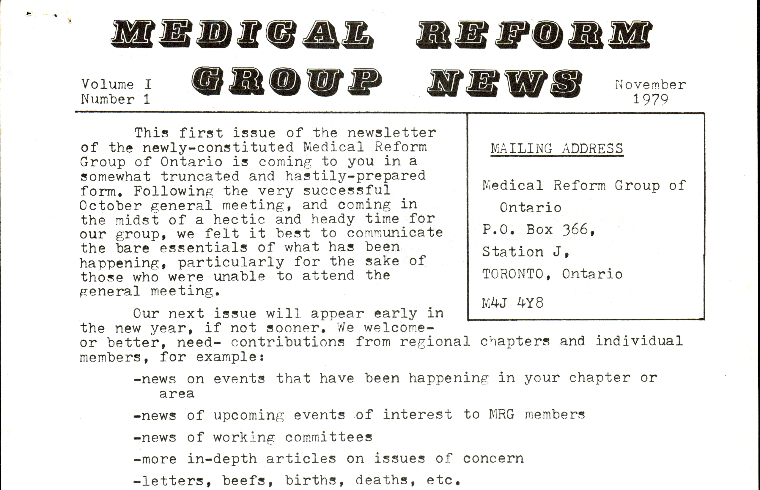 Medical Reform Group Newsletter, November 1979.