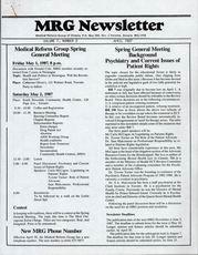 Medical Reform Newsletter April 1987