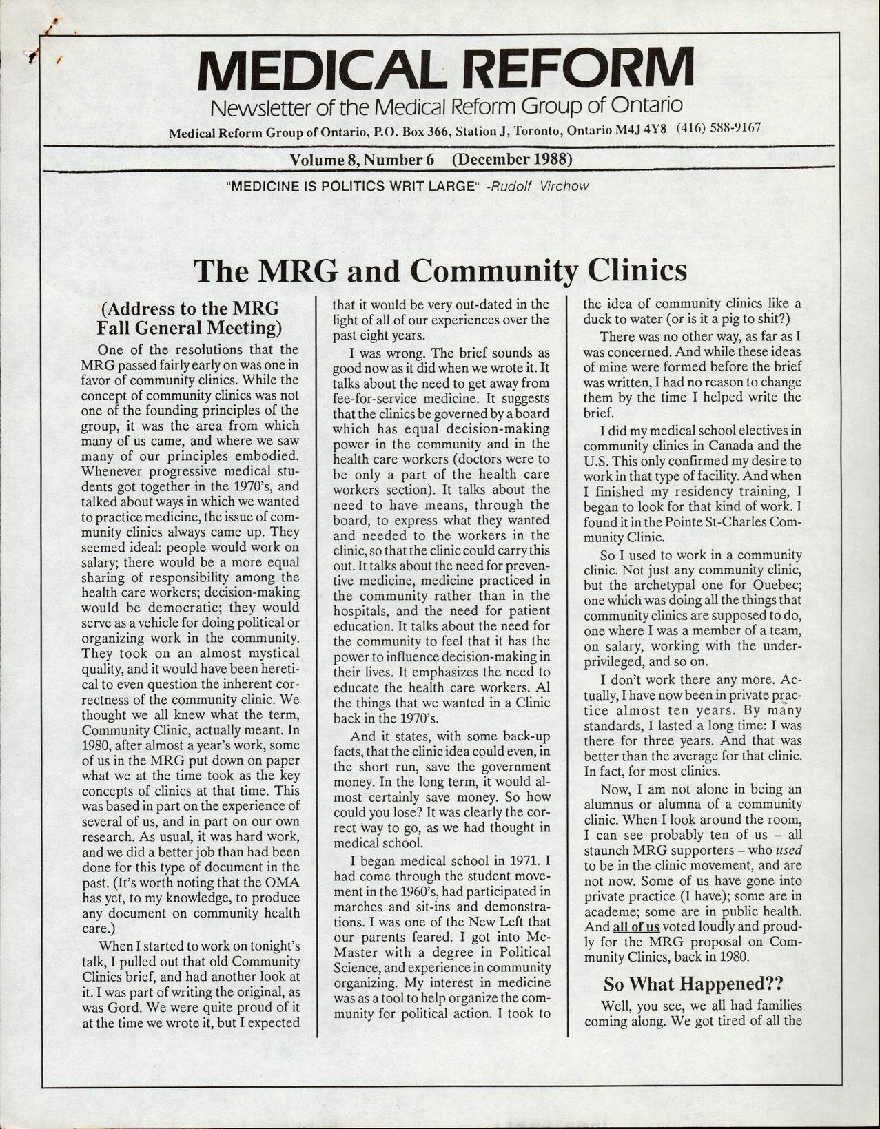Medical Reform Newsletter December 1988