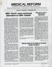 Medical Reform Newsletter December 1991