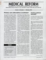 Medical Reform Newsletter February 1994