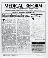 Medical Reform Newsletter September 1994